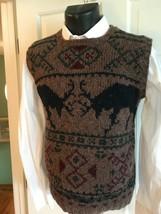 Ralph Lauren  Mens Wool Hand Knit Moose Sweater Vest Hong Kong VTg Small... - $74.25