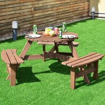 Wood Picnic Dining Table 6-Person Patio Seat Rustic Outdoor Deck Beer Be... - £147.35 GBP