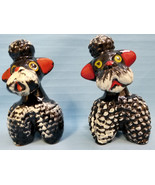 2 Poodle Dogs Vintage Japan Terracotta Black White Sitting Figurines 1960's - $54.95