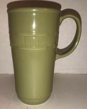 Longaberger Vitrified Pottery Green Coffee Mug Basket Weave Design 6 1/4... - $30.97