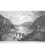 HARPER'S FERRY West Virginia Potomac River Viaduct - 1883 German Print - $16.20