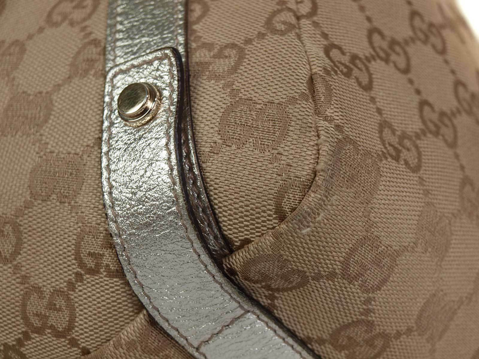Authentic GUCCI GG Pattern Canvas Leather Browns Shoulder Bag GS17303L