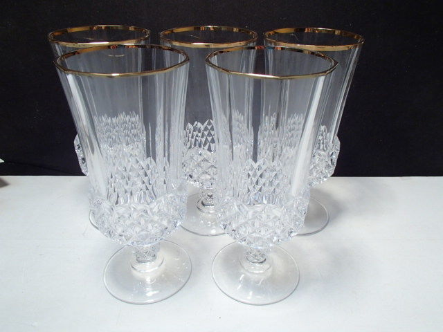 Primary image for 5 Cristal d'Arques Valencay Ice Tea / Iced Beverage Goblets w Gold Rim