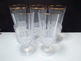 5 Cristal d'Arques Valencay Ice Tea / Iced Beverage Goblets w Gold Rim - $44.99