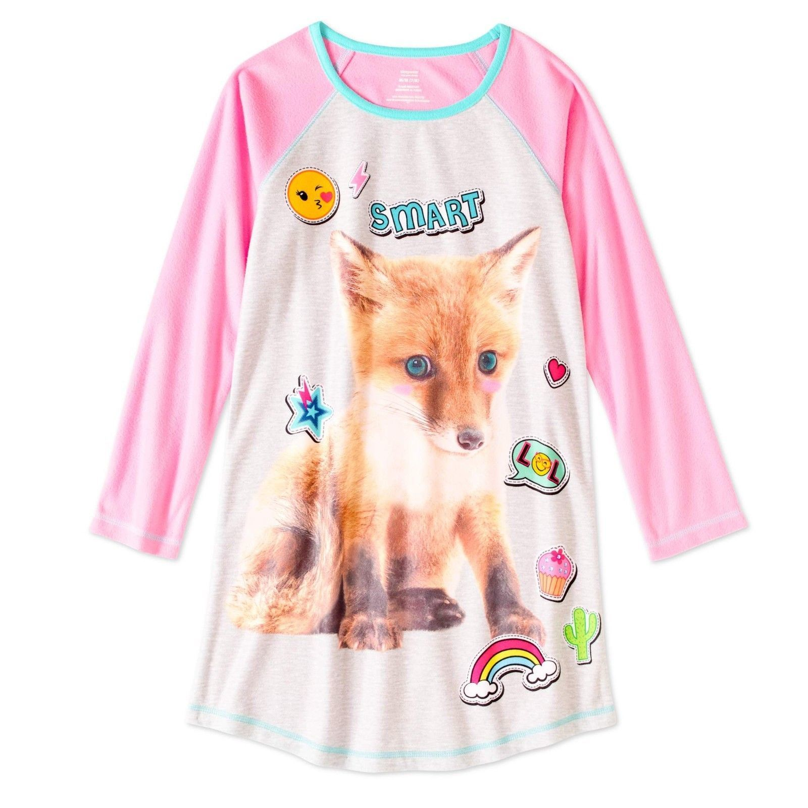 323b3423e Walmart Girls Long Sleeve Raglan Sleep Night Gown Size X-Small 4-5 Smart  Fox - $9.89