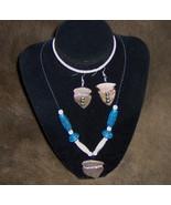 Custom Made! Arrowhead, Bone and Blue Beads Set, Native Style Jewelry Set - $80.95