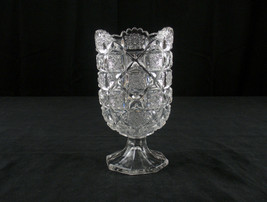 Westmoreland Bridle Rosettes Celery Vase, Antique Glass EAPG c1910 Checkerboard - $36.18