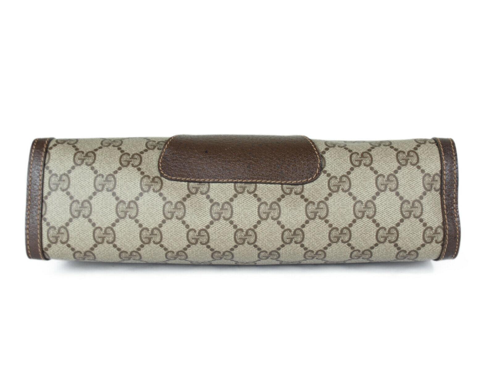 GUCCI GG Pattern PVC Canvas Leather Browns Clutch Bag GP2204