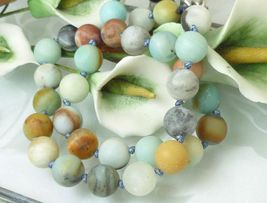 Black Gold Amazonite Beaded Round Necklace 20 inch Matte Finish Beads - $45.00