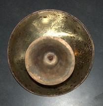 Vintage Israel Copper Nut Cracker Mounted Bowl Signed Tamar 1960's image 4