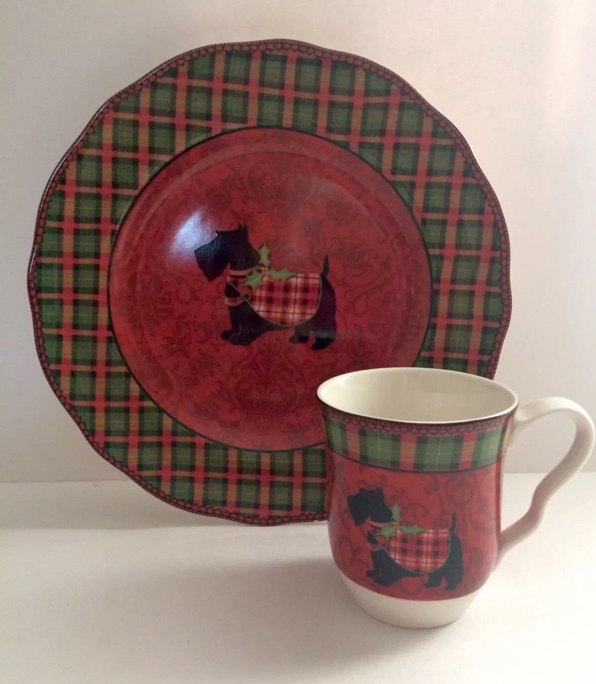 222 Fifth Christmas Scotty 11\  Dinner Plate and Mug Red Plaid Scottish Terrier & 222 Fifth Christmas Scotty 11\