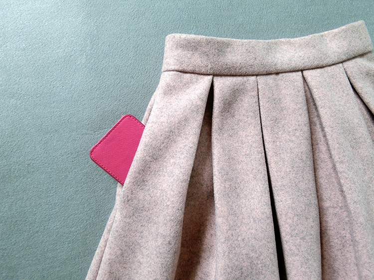 Lady Pink Winter Wool Skirt Pink High Waist Midi Pleated Skirt Winter Party Plus