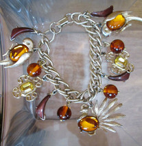 Mid Century Charm Bracelet  Tropical Jelly Belly Birds, Bakelite Beads 1... - $193.05