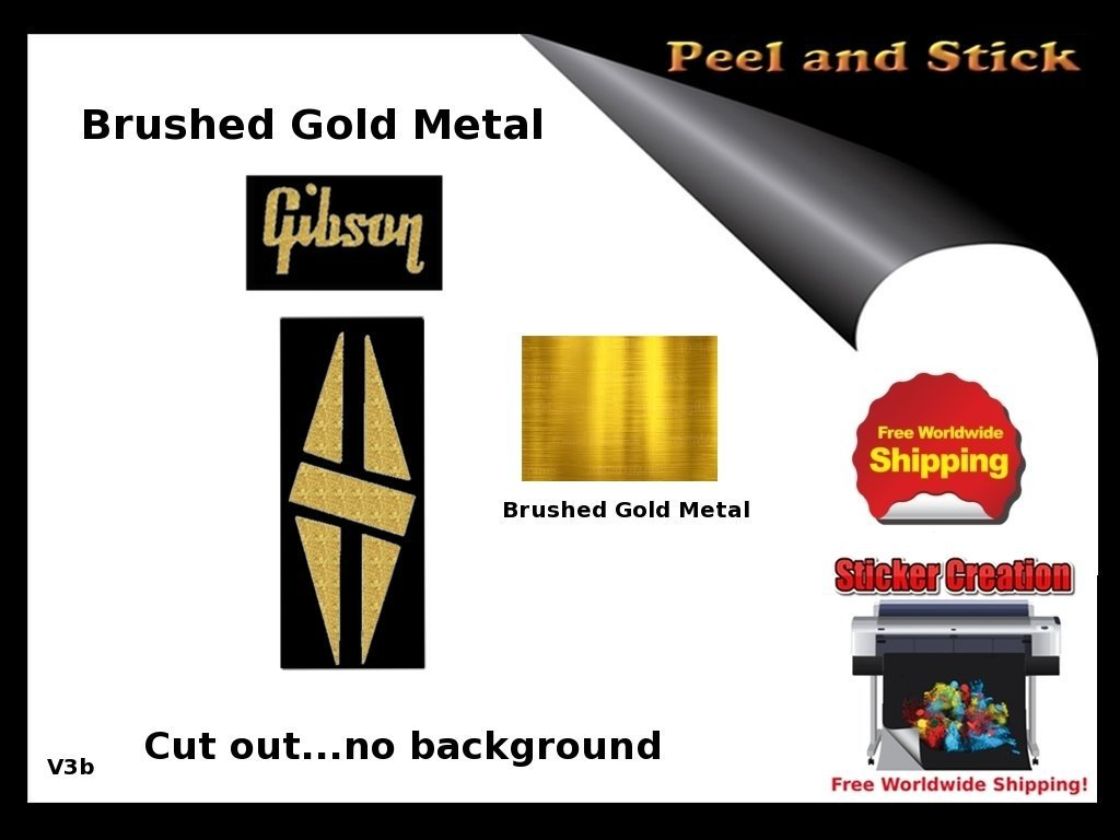 59 Gibson Les Paul Model Headstock Vinyl Decal Inlay set Satin Gold
