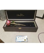 The Eternity Rose 24k Gold-Dipped Pink Glazed Rose with green leaf  - $86.67