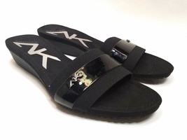 Anne Klein Black Wedge Open Toe Womens Size 9 M Slip-On Slides Sandals S... - $27.10