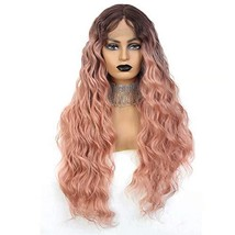 JulyQueen Deep Wave Lace Front Wig Middle Part Long Wavy Heat Resistant Syntheti