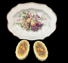 Avon VTG Nature Bountiful 22K Gold plated Ceramic Soap Dish 2 Soaps Neve... - $12.16