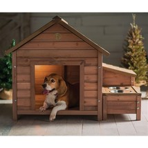Solid Wood A-Frame Outdoor Dog House with Food Bowl and Storage - $317.90