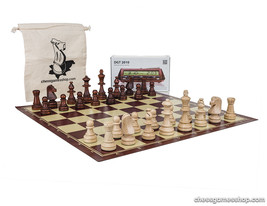 Standard size chess set Tournament Staunton, chess board, timer DGT 2010... - $95.00