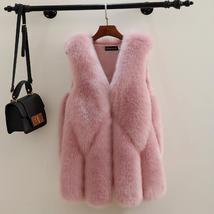 Plus Size Winter Fashion High Quality Fur Vest Coat Luxury Faux Fox Warm Women C