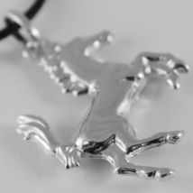 18K WHITE GOLD ROUNDED HORSE PENDANT CHARM 32 MM SMOOTH BRIGHT MADE IN ITALY image 3