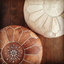 Special holiday gift Set of 2 Amazing Moroccan pouf Tan Pouf & Natural Ottoman  - $129.00