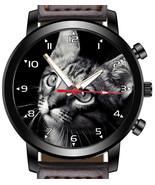 Grey Cat Black Background Portrait Art Unique Beautiful Wrist Watch UK FAST - $45.00