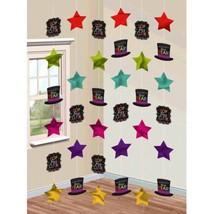 Happy New Years Eve 6 Doorway Foil Star String Decoration Jewel Tones - $6.64
