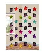 Happy New Years Eve 6 Doorway Foil Star String Decoration Jewel Tones - $5.99