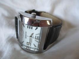 Geneva Silver Toned Wristwatch w/ Black Adjustable Buckle Band - $29.00