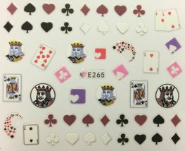 Nail Art 3D Decal Stickers Poker King Cards Spades Suites Hearts E265 - $3.19