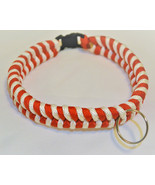 """Paracord 550 Dog Collar Red and White Fish Tail Design 13"""" Black Quick R... - $15.00"""