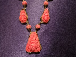Vintage Brass & Pink Coral Carved Glass Flower Floral Designed Necklace - $74.25