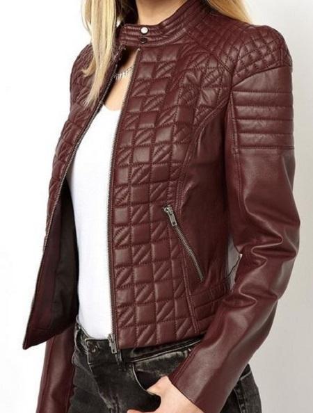 WOMEN QUILTED LEATHER JACKETLEATHER JACKET FOR WOMENBLACK COLOR - Coats U0026 Jackets