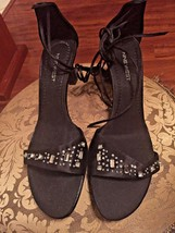 Nine West Black Satin Ankle/Leg Lace Up Sandals w Rhinestones - 10M - $14.54