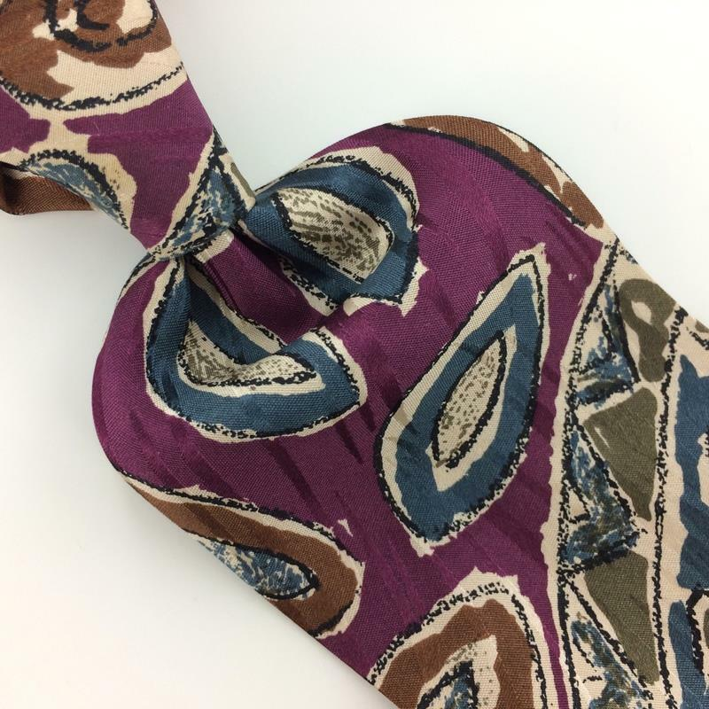 KENNETH COLE Made In Italy ITALY ABSTRACT PURPLE Brown Silk Necktie Ties I8-350