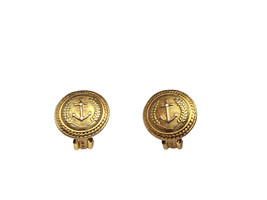 Vintage Golden Anchor Rope & Wreath Nautical Button Clip On, summer jewe... - $15.00