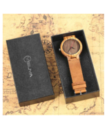 Simple Wooden Watch Men's Nature Bamboo Wood Genuine Leather Casual Women 2 - $20.90+