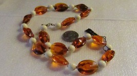 Vintage Brown and White Genuine Lucite Beaded Necklace - $11.88