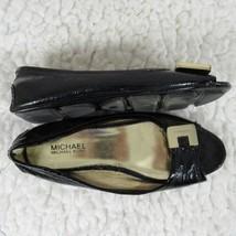 Michael Kors Ballet Flat Shoes Womens 6 Black Leather Open Toe - $43.80