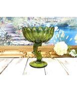 Green Compote Depression Glass Leaf Stem, Footed White Vase, Vintage Cen... - $75.00