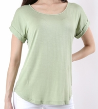 Lt Green Blouse with Folded Sleeves, Short Sleeve, Womens, Scoop Neck Top