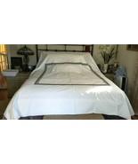 William Sonoma Queen CHAIN LINK BLACK Gray Grey Embroidered Border DUVET... - $99.99