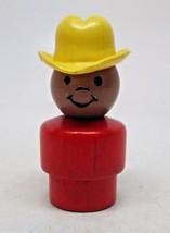Fisher Price Wooden Base Rare African American Cowboy Hat Vintage HTF - $9.87