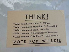 1940 WHO NOMINATED Postcard Wendell WILLKIE Political Anti Franklin Roos... - $9.49
