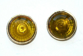 vintage round lucite cab cabochon yellow clip earrings - $7.91