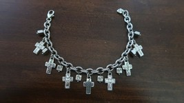 "BRIGHTON PURITY CROSS Crystal Silver Charm BRACELET Max 8.5"" - $38.12"