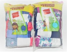 Hanes Girls 10pk Tagless Briefs Underwear Panties Various Colors Size 10... - $6.49