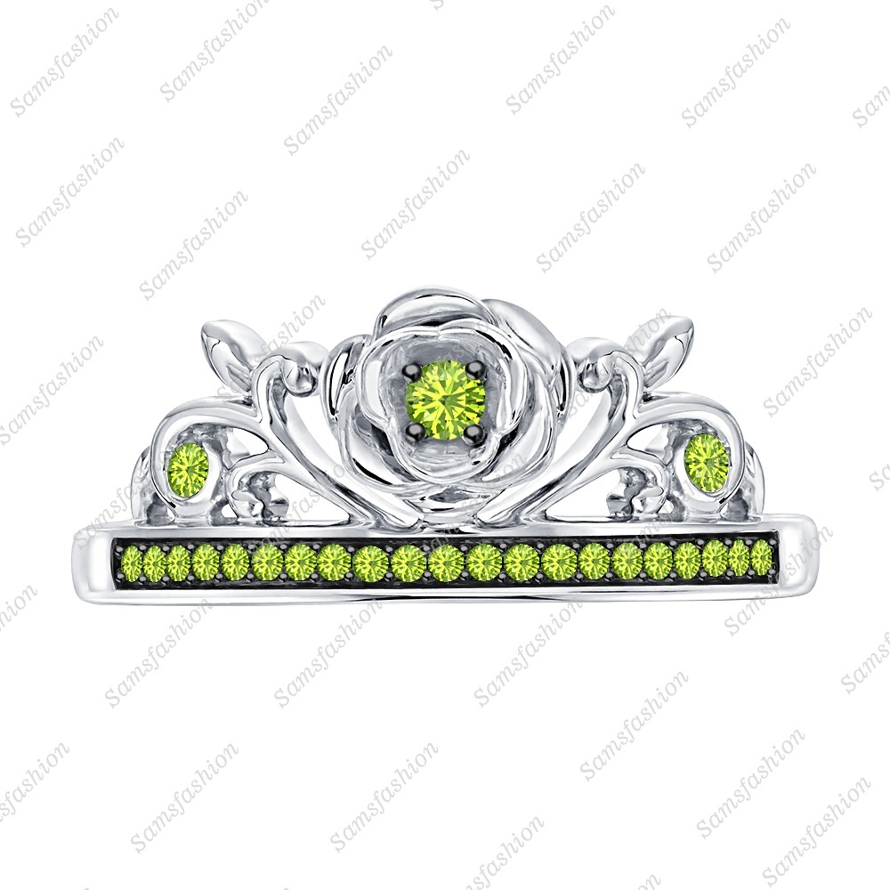 Primary image for Round Cut Peridot 14k White Gold Over .925 Silver Rose Flower Anniversary Ring